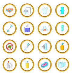 Hygiene icons circle vector