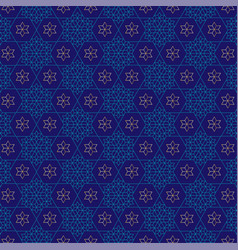 Jewish star blue gold pattern vector