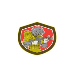 Navy seal with armalite rifle shield vector
