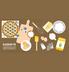 Poster of blueberry pie ingredients and utensils vector