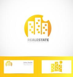 Real estate building moon logo vector