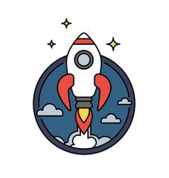 retro colored rocket icon or circular badge vector image