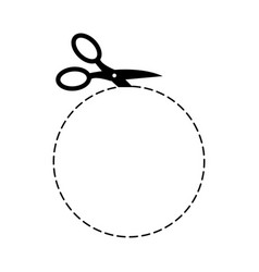 scissors circle template sign symbol cut with vector image