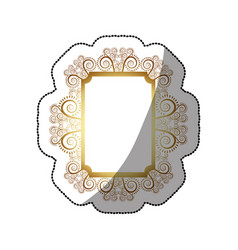 Sticker golden rectangle vintage baroque frame vector