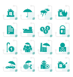 Stylized insurance and risk icons vector