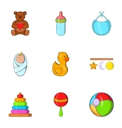 Things for baby icons set cartoon style vector image