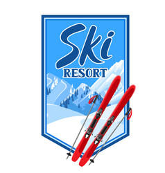 winter background with skiing equipment snowy vector image