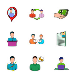 Work candidate icons set cartoon style vector