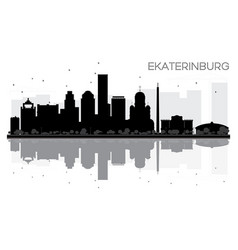 Yekaterinburg city skyline black and white vector