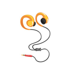 Yellow earphones or earbuds with adapter cord vector
