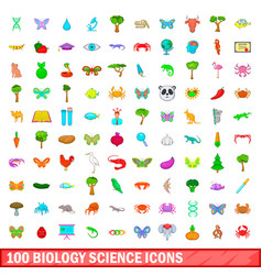 100 biology science icons set cartoon style vector