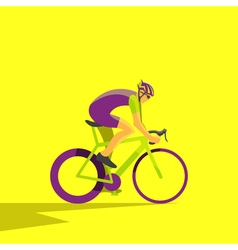 Cyclist on bike biker and bicycling sport and vector