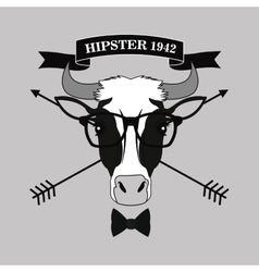Cow animal hipster style vector