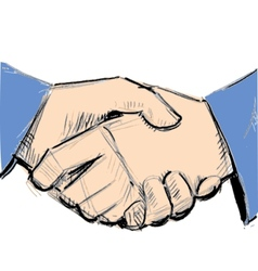 Business hand shake between two people vector
