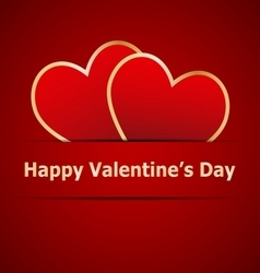 Red hearts on valentines day card vector
