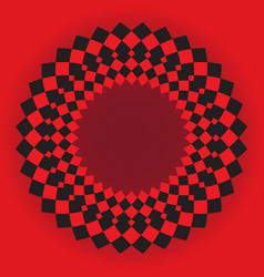 Abstract circle with black and red squares vector