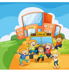 A school bus in front of the school vector image