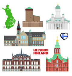 Helsinki travel set with architecture vector