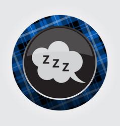 Button blue black tartan - zzz speech bubble icon vector