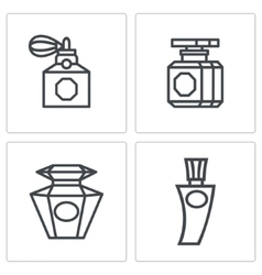 Vintage perfume icons set vector