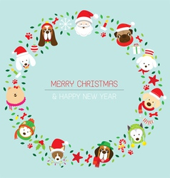 Christmas and dog breeds wreath vector
