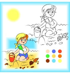 Baby on the sand coloring book vector