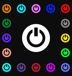 Power switch on turn on icon sign lots of colorful vector