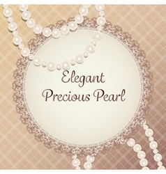 Gorgeous cream pearl necklace with lace plate on vector