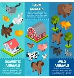 Isometric animal banner vector