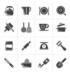 Black kitchen gadgets and equipment icons vector