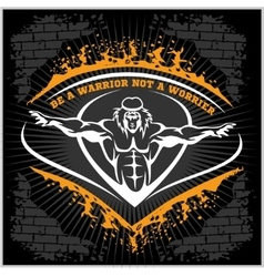 Bodybuilding emblem on dark grunge background vector