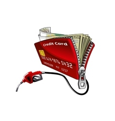 Credit card with pump nozzle and money vector