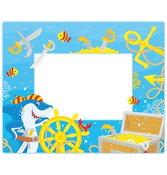 Frame with a pirate shark and sunken treasure vector