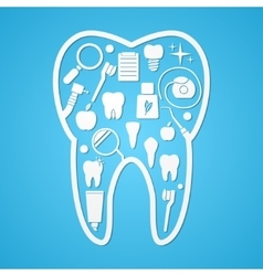 Tooth hygiene and threatment symbols vector