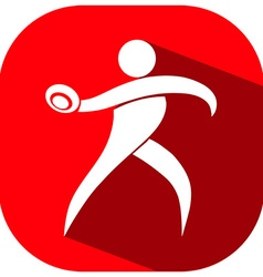Square icon of athlete throwing discus vector