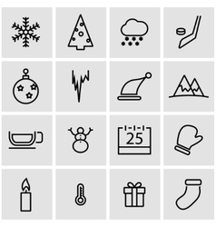 Line winter icon set vector