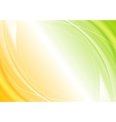 Abstract green orange wavy template design vector
