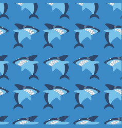 Angry shark seamless pattern vector