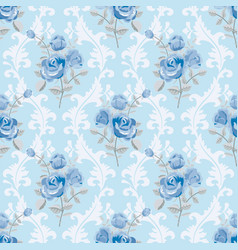 blue roses floral wallpaper vector image