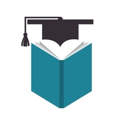 Book and cap graduation education online vector