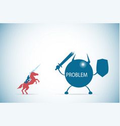 Businessman riding a horse to against the problem vector