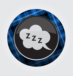 Button blue black tartan - zzz speech bubble icon vector