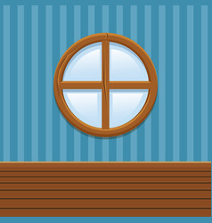 Cartoon wooden round window set home interior vector