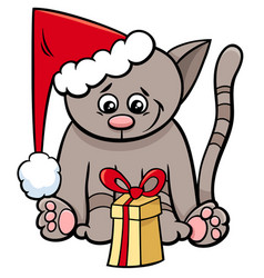 Cat with xmas present cartoon vector