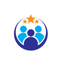 circle people star success logo image vector image