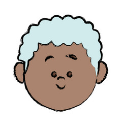 Cute cartoon senior avatar female old people face vector