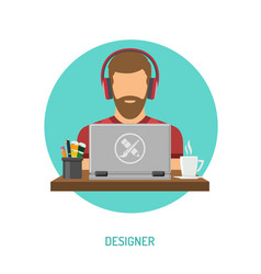 designer freelancer working on laptop vector image vector image