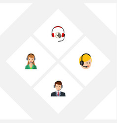 Flat call set of hotline secretary call center vector