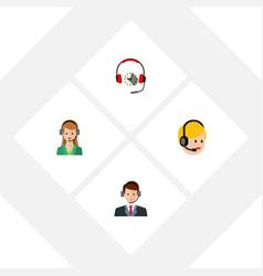 flat call set of hotline secretary call center vector image vector image