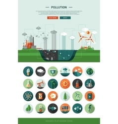 Flat design ecological icons with header and vector image